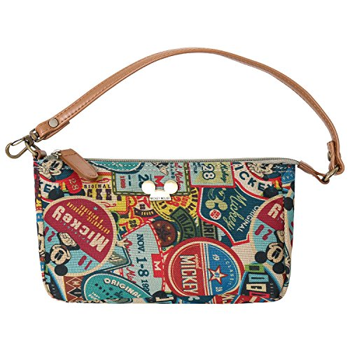 ililily X Disney Vintage Style Pattern Pouch Bag Mickey Mouse Purse (Small, Brown)
