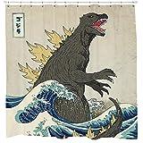 Sharp Shirter Tolles Godzilla Duschvorhang-Set, Vintage-Stil, japanische Dekoration, Strand-Thema, Kunst, Mancave