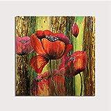 YHXIAOBAOZI Pinturas Al Pintura Al Óleo Pintado A Mano Pintado A Mano Rojo Amapola sobre Lienzos De Abstracto De Gran Tamaño De Planta Cuadrada Moderna Decoración Ilustraciones De Pared para Entrada