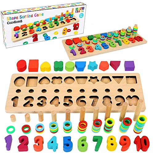 CozyBomB Wooden Number Puzzle Sorting Montessori Toys for Toddlers - Shape Sorter Counting Game for Age 3 4 5 Year olds Kids - Preschool Education...