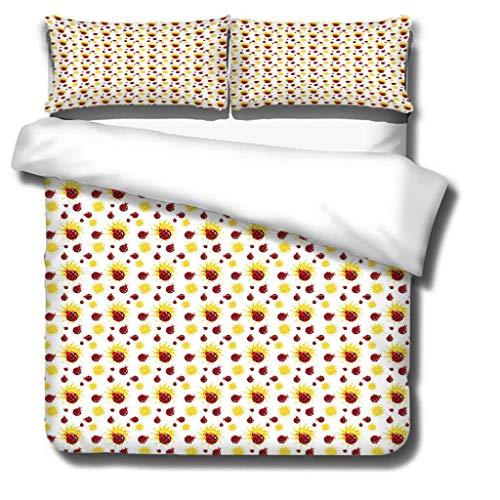 Single duvet cover 3D printed Ladybug pattern 3 pieces of bedding, super soft polyester duvet cover 135x200cm + 2 pillowcases 50x75 cm