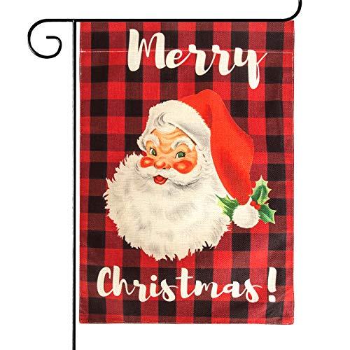 Attmu Merry Christmas Garden Flag, Christmas Flag Double Sides Outdoor Wreath Seasonal Decorations 12.5 x 17.7 Inches