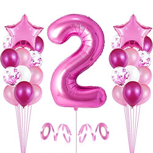 2er Cumpleaños Globos, Decoración de cumpleaños 2 en Rosas, Feliz cumpleaños Decoración Globos 2 Años, Globos Numeros para Fiestas,Globos de Aluminio para Niñas