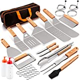 HaSteeL Griddle Accessories Set of 20, Stainless Steel Griddle Spatula Tools Kit with Carrying Bag, Complete Heavy Duty Metal Spatulas for Teppanyaki BBQ/Flat Top/Cast Iron Cooking Grilling Camping