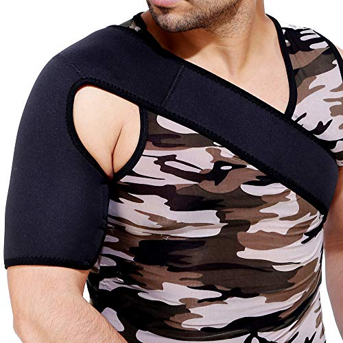 HealthAndYoga(TM) Shoulder Immobilizing Brace with Bicep Compression Sleeve - Rotator Cuff, Surgery, Injury Support - Unisex – Child and Adult (Adult)