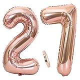 Ouceanwin 2 Ballons Numéro 27 Or Rose, Géant Ballon Chiffre 27 Numero Ballons Feuille 40 Pouces Helium Ballons Gonflable pour 27 Ans Anniversaire Décorations de Fête Filles (100cm)