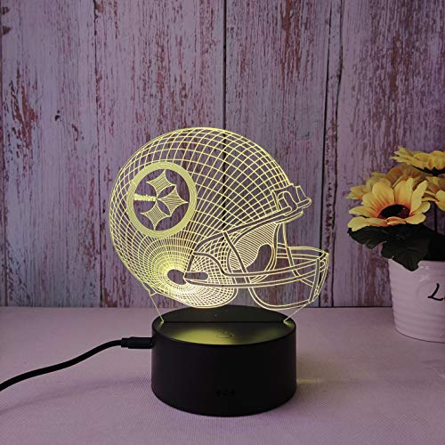 NewFan 3D Helmet LED Night Light for Pittsburgh Steelers,Flat Acrylic Illusion Lighting Steelers Lamp with 7 Colors and Touch Sensor, 3D Lamp Steelers Gift for Men or Women