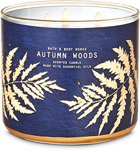 White Barn Candle Company Bath and Body Works 3-Wick Scented Candle w/Essential Oils - 14.5 oz - Autumn Woods (Dark Walnut, English Lavender, and White Amber)
