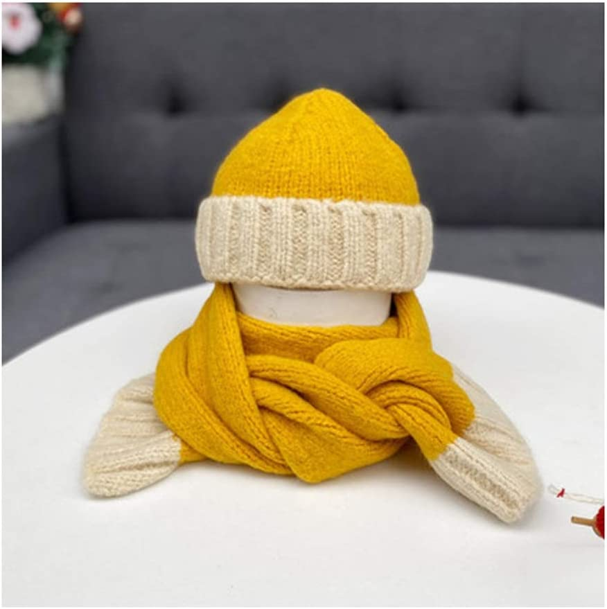 Christmas Holiday Wool Scarf Christmas Scarf Winter Snowman Scarves for Children Hat and Scarf Set (Color : Yellow)