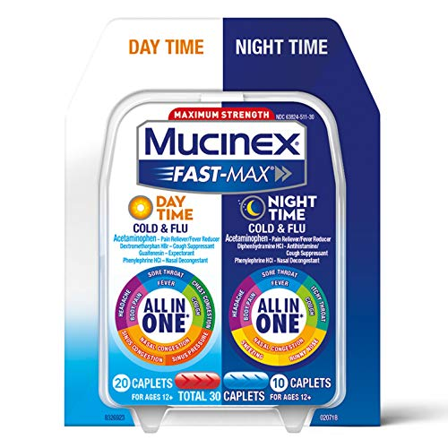 Mucinex Fast-Max Day Time Cold & Flu and Night Time Cold & Flu Medicine, 30 Caplets, Maximum Strength All in One Multi Symptom Relief for Congestion, Sore...