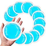 Reusable Gel Ice Pack (12 Packs) with Cloth Backing, Hot or Cold Compress for First aid, Kids Injuries, Wisdom Tooth, Breastfeeding, Headaches, Sinus Pain, Reduce Swelling or Soreness - Blue Round