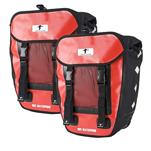 Red Loon 2 x Pro robuste Fahrradtasche aus LKW-Plane – wasserdichte Doppelpacktasche für Gepäckträger in rot