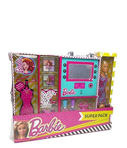 Barbie- Uper Pack Estuche con Luz y Maquillaje con Muñeca,