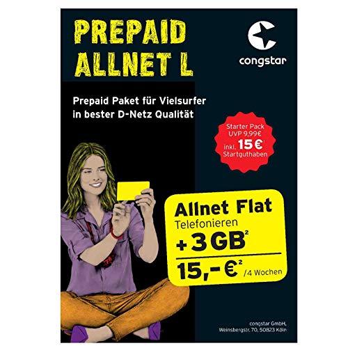 Congstar Prepaid Allnet L mit 15,00 € Guthaben (3 GB Datenvolumen + Allnet Flat in alle dt. Netze) SIM Karte