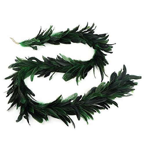ZUCKER Green Beaded Feather Christmas Garland - Holiday, Home, Wedding Decoration