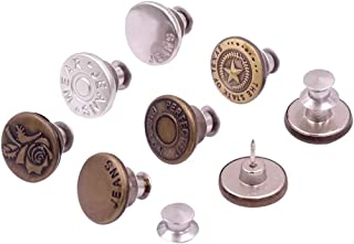 Yiyilai 5PCS Adjustable Removable Brooch Stapleless Metal Button Replacement Kit for Women and Men Jeans Collar
