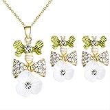 HMANE Conjunto de Joyas con Nudo de Lazo de Color Verde Dorado romántico, Flor Blanca acrílica para Collar de Cadena Encantador Nupcial, Pendientes para Mujer