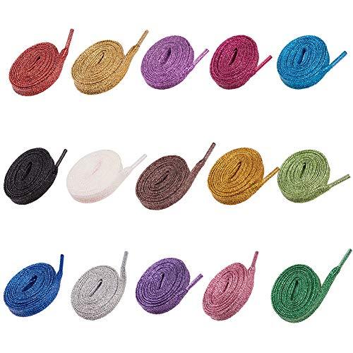 PandaHall 15 Paia Lacci per Scarpe Glitter Scarpa Piatta Laccio in Poliestere per Scarpe da Ginnastica Scarpe da Ginnastica in Tela, 15 Colori