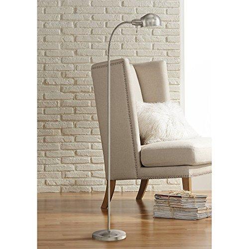 Ridley Modern Gooseneck Floor Lamp Tall Satin Nickel Adjustable Arm for Living Room Reading Bedroom Office - 360 Lighting