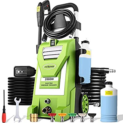 mrliance 3800PSI Electric Pressure Washer 3GPM High Pressure Power Washer Machine with 5 Spray Tips, Soap Bottle, 2000W Car Washer, Pressure Cleaner for Fences Patios (Green)