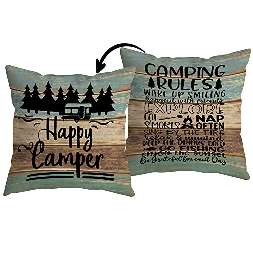 HUYAW Rustic Happy Camper Wood Board Reversible Throw Pillow Cover, Camping Camper Gifts for Women Men, Camping Rules Pillow Case 18 x 18 Inch Home RV Camper Bed Sofa Decor