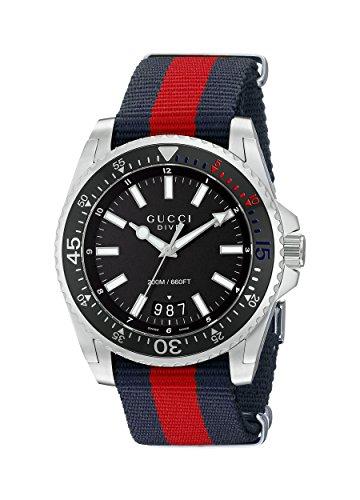 Gucci YA136210- Reloj con movimiento de cuarzo para hombre, correa de nilon, color azul y rojo