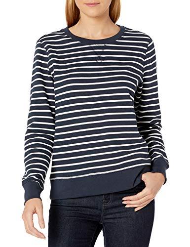 Amazon Essentials French Terry Fleece Crewneck Athletic-Sweatshirts, Marineblau gestreift, X-Large