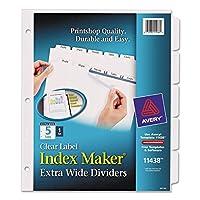 Index Maker extra-wideクリアラベルディバイダー、5-tab、111/ 4x 91/ 4、ホワイト、として販売5各