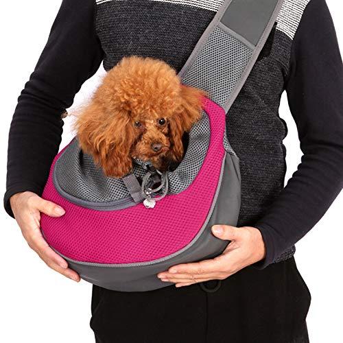pawstrip Bolsa de hombro para mascotas portátil, para perros pequeños y gatos para viajes al aire libre bolsa de mensajero para mascotas mochila de malla transpirable para caminar correr senderismo