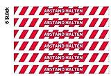 6 pegatinas para el suelo de AVERY, 100 x 9 cm, con lámina de protección para el suelo antideslizante R11 según la norma DIN 51130, 6 unidades, color rojo