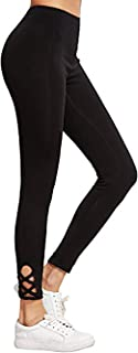 SweatyRocks Women's Cutout Leggings Skinny Yoga Pants Runing Jogger Active Tight (X-Large, Black#6)