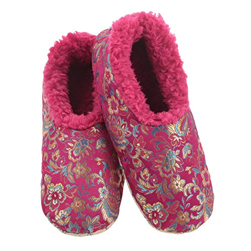 Snoozies Womens Asian Fusion Cozy Sherpa Fleece Non Skid Slipper Socks - Dark Pink, Large