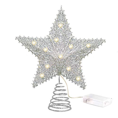 NAROCK Tree Toppers Silver Glittered Christmas Tree Topper 8 Inch Metal Star Treetop 10 LED Xmas Topper Star for Christmas Tree Decoration