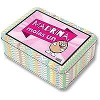 Regalo Madrina. Pack Caja metálica 18x13x6 cm, Bolsa 35x40 cm, Pulsera, libreta A-6 y boli. Madrina, molas un Huevo