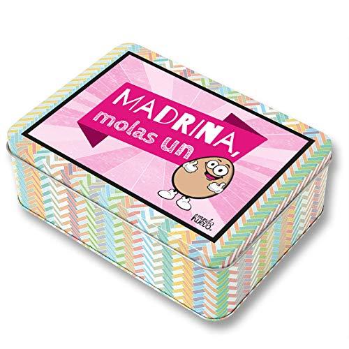 Regalo Madrina. Pack Caja metálica 18x13x6 cm, Bolsa 35x40 cm, Pulsera, libreta...