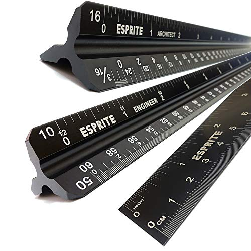 Architectural Scale Ruler, Engineering Scale and 12 inch Metal Ruler Set, Machinist Ruler Triangular Scale Drafting Ruler Architecture Ruler, Laser Etched Metal Scale Rulers-3 PCS