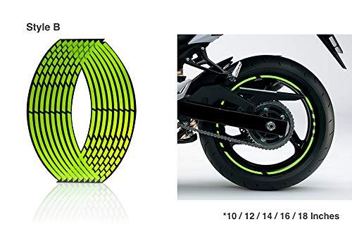 Arashi - Adhesivos para llantas de motocicleta, color verde fluorescente, diseñados para todos los 10 llantas de 12 14 16 18 pulgadas, accesorios para coche o moto duraderos y resistentes al agua, Verde, Style B 14'