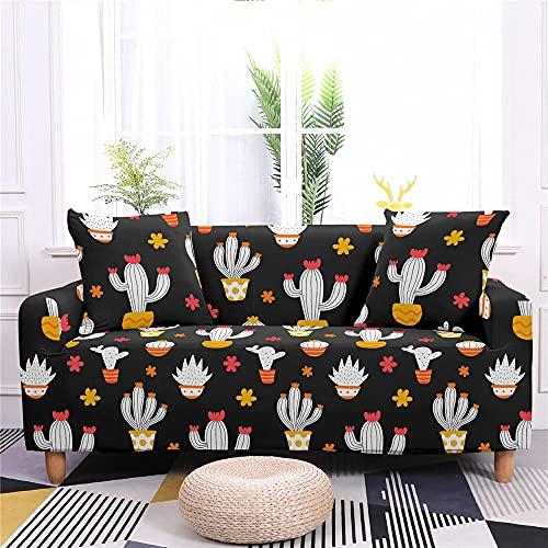 Surwin Funda Elástica para Sofá de 1/2/3/4 Plazas, 3D Impresión Universal Cubierta de Sofá Cubre Sofá Antideslizante Lavable Sofa Couch Cover Protector (Cactus,3 plazas - 190-230cm)