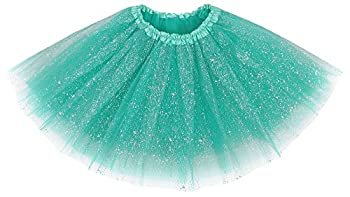 Simplicity Womens Tulle Ballet Tutu Skirt Costume Party Dress,Buish Green Sequin
