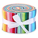 40 Colors Jelly Roll Fabric, Roll Up Cotton Fabric Quilting Strips, Fabric Jelly Rolls for Sewing, Patchwork Craft Cotton Quilting Fabric