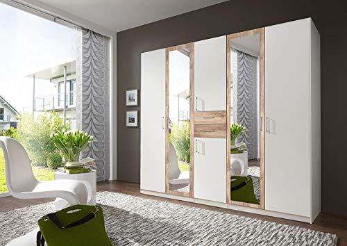 Wimex Kleiderschrank/ Drehtürenschrank Diver, 6 Türen, 2 Schubladen, (B/H/T) 225 x 210 x 58 cm, Weiß/ Absetzung Plankeneiche