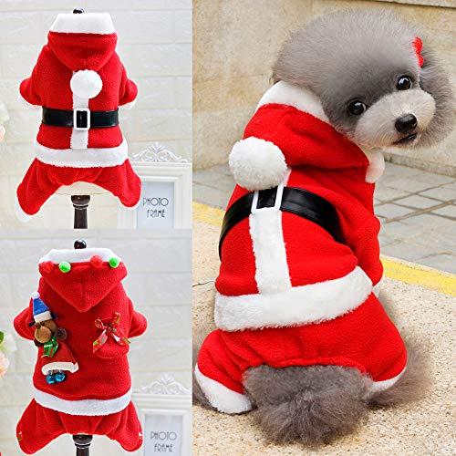 ENticerowts Hundekleidung für Hunde, Weihnachtsmann-Paar, mit Kapuze, Kostüm für Herren, Größe L