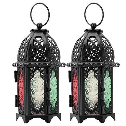 HERCHR 2 Piezas de Linterna de Vela Vintage, Transparente Linternas Colgantes Creativos de Boda Decoració para Fiesta de Boda, Patio al Aire Libre