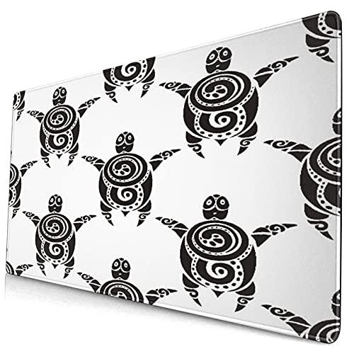Großes dekoratives Gaming-Mauspad,Meeresschildkröten im Maori-Stil Ethnische po,lange Computermausmatte mit rutschfester Gummibasis für Büro/Spiele/Zuhause