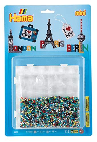 Hama 5616 Bügelperlen Mini, ca. 5000 Stück, inklusive Stiftplatte Viereck und Zubehör, Metropolen, Mehrfarbig