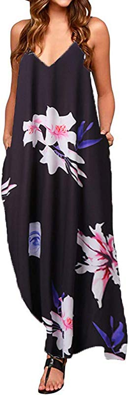 Big Sale Yetou Women S V Neck Beach Dress Long Dress Sleeveless Loose Printed Casual Flowy Boho Dress