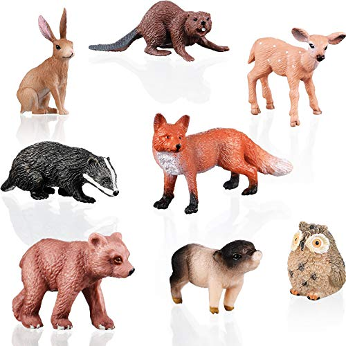 Geyoga 8 Pieces Forest Animals Baby Figures Plastic Woodland Creature Figurines Mini Animal Figures Playset Cake Toppers for Christmas Easter Birthday Present