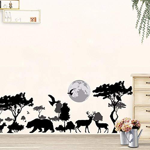 3D Cartoon dier herten vogel wolf bos dierentuin boom bloemen muurstickers home decor voor slaapkamer woonkamer kinderkamer Art poster