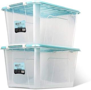 SHENRQIA Home Storage King Lot De 2 Grandes Boîtes De Rangement en Plastique avec Couvercles, Transparent, Boîtes De Range...