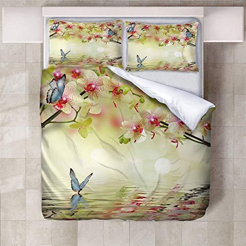IXGMI 3D Digital Print Bedding,Yellow Vintage Flowers Butterflies,Duvet Cover Set 3pcs Bedding Set with Zipper Closure, Ultra Soft Microfiber Quilt Cover Set 230x220cm